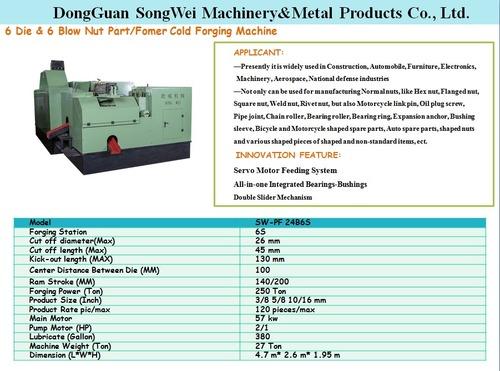 Songwei 24b6s Fastener  Cold Forging Making Machine