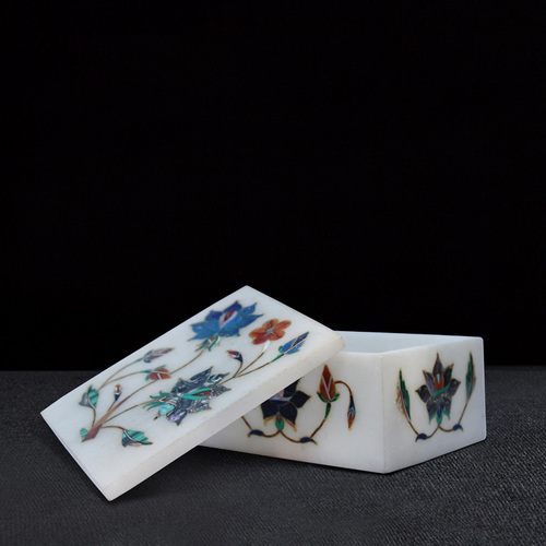 Handcrafted Marble Inlay Box Insert with Semi Precious Stone at ...