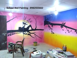 Cartoon Wall Painting Artist Services for School