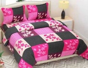 3D Printed Polycotton Double Bedsheet With 2 Pillow Covers