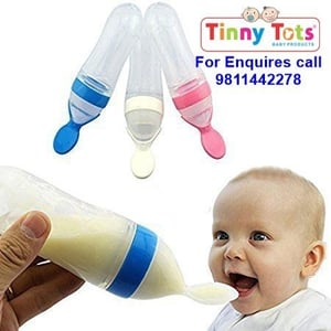 Squeezy Silicone Baby Food Feeder With Plastic Spoon