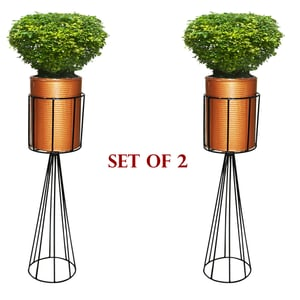 Foldable Metal Stand with Round Corrugated Pot
