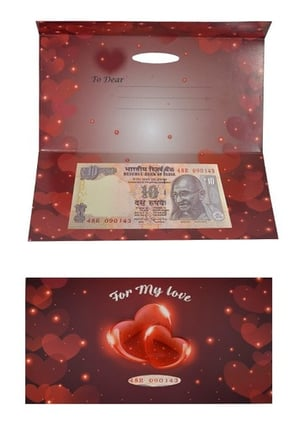 Valentine Day Greeting Card Rs 10 Currency Note Serial No 143