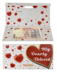 Valentine Day Greeting Card Rs 10 Currency Note Serial No 43