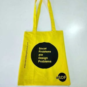 Stylish Yellow Cotton Tote Bag With Handle