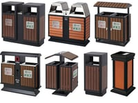 Customizable Outdoor Recycling Trash Can With Dual Litter Bin