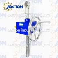 "Hand Crank Lift Load 50 Kn 5 Ton 10"" 250 Mm Stroke Screw Worm Wheel Jack Lifting 14:1 Gear Ratio With Rod End Bearing"