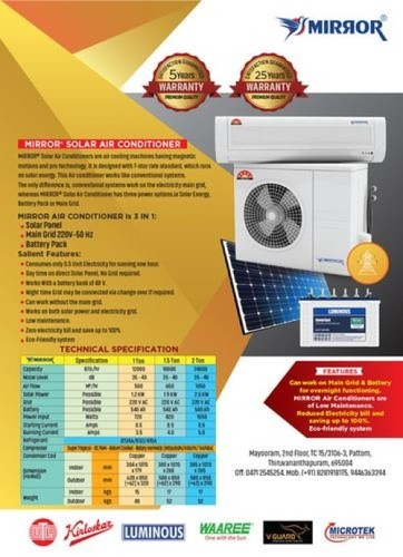 2.0 Ton Solar Hybrid Air Conditioner (Mirror)