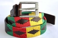 Embroidered Multicolor Leather Belt