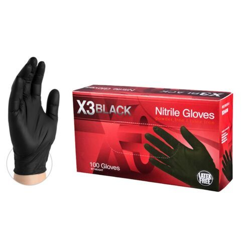Nitrile Rubber Powder Free Black Gloves