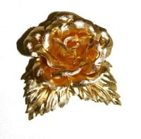 Gold Leaf Rose Flower Brooch