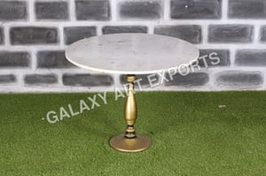 Banswara White Marble Top with Pedestal Cast Iron Base Dining Table