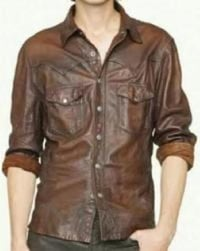 Mens Brown Leather Shirts