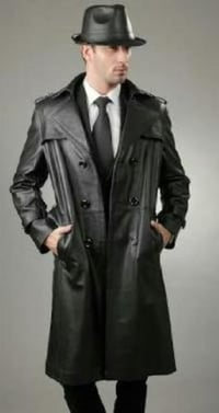 Mens Leather Trench Coat