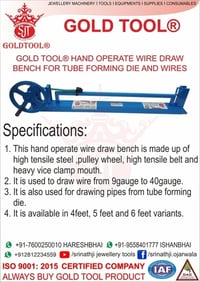 Gold Tool Hand Operate Wire Draw Bench for Tube Forming Die and Wires