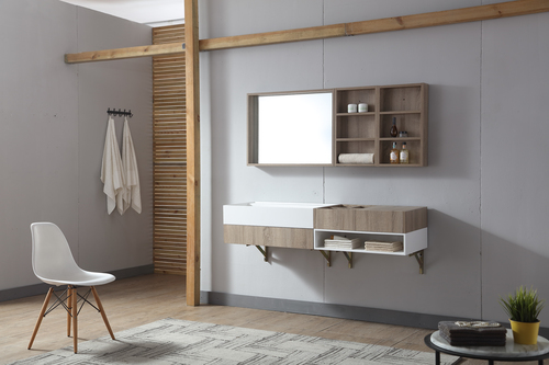 TW1017 High End Solid Surface Bathroom Cabinet with Wash Basin and Mirror