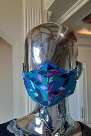 Blue Striped Face Mask