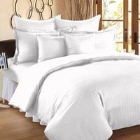 Luxury Premium Cotton Satin Striped Double Bed Sheets