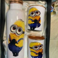 Minions Printed Water Bottle And Glass Set