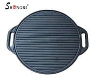 Pre-Seasoned Round Cast Iron Griddle with Side Handles
