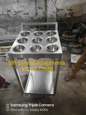 Stainless Steel Commercial Kitchen Masala Trolley