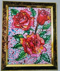 Multicolor Flower Painting With Frame