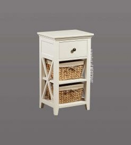 Wooden Cabinet With 3 Seagrass Drawers