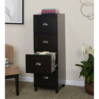 Engineered Wood 4 Drawer Filing Cabinet With Half Moon Handles In Black Finish