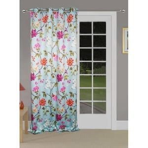 Lushomes Floral Printed Poleyster Door Curtains With Eyelets