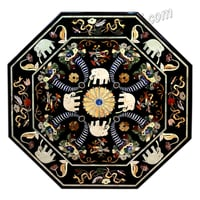 Black Marble Dinning Table Top with Elephant and Bird Design