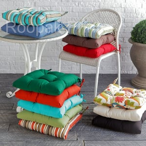 Cotton and Polyester Printed or Plain Dyed Chair Seat Pads or Travel Cushions