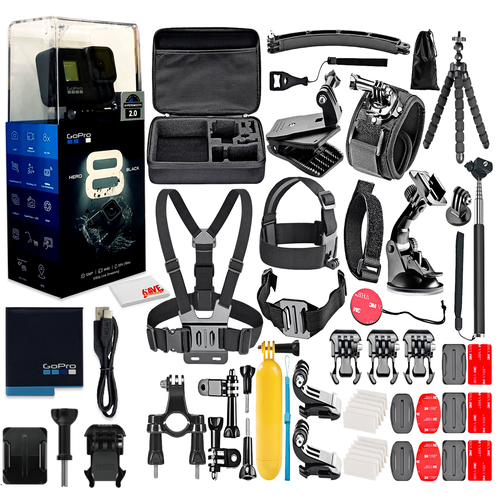 Black Digital Action Camera With All Accessories