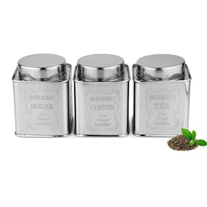 Kitchen Stainless Steel Tea Sugar Coffee Canister With Square Design - Silver - 500 ml Each