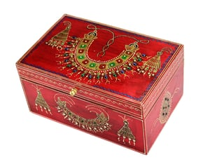 Wooden Painted Jewelry Box Red