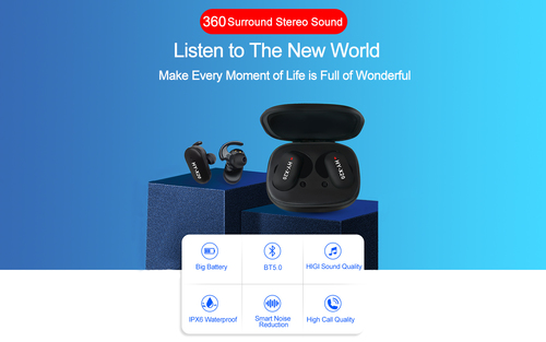 Bluetooth 5.0 Headphones with Noise Cancellation Mic