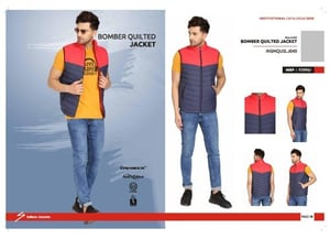 Navy Blue And Red Bomber Quilted Jacket