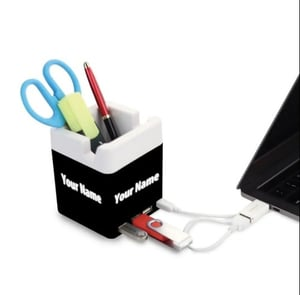PowerGlow USB Hub With Tumbler And Logo Highlight Mobile Stand