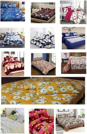 Multicolor 100% Soft Cotton Printed Double Bedsheets With 2 King Size Pillow Cover
