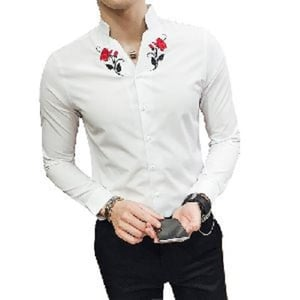 White Mens Embroidered Shirts