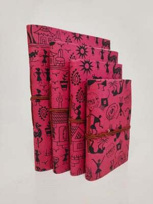 Printed Handcrafted Pink Diaries (Set of 4)