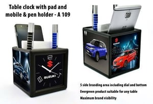 A-109 Table Clock Pad Mobile And Pen Holder