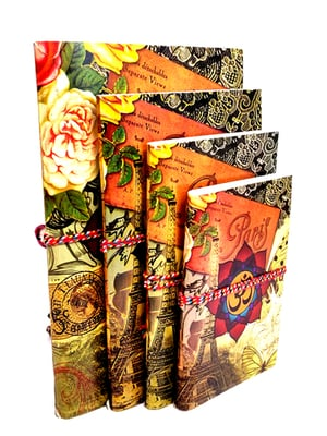 Handcrafted Printed Diaries (Set of 4)