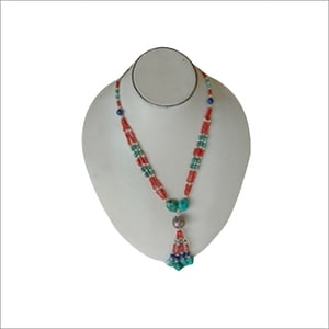 Fancy Coral Beaded Necklace