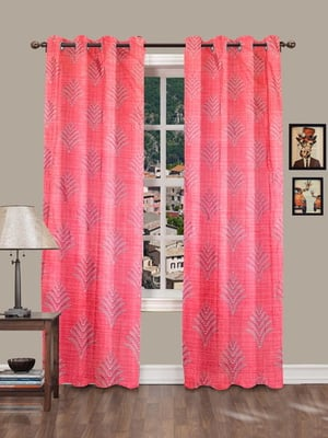 PHW Crush Polyester (Background Wall Paper Design & High-Lights Floral Print Eyelet Curtains)