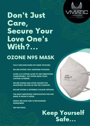 Washable Reusable Five Layer Three Dimensional 95% Protective N95 Face Mask (Pack of 50)