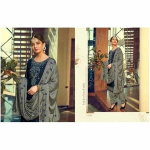 Ladies Embroidered Cotton Silk Patiala Suit