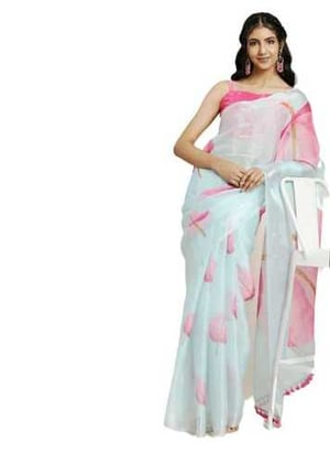 Ladies Digital Printed Pink Leafs Floral Designed Sky Blue Colour Saree with Fringe Lace & Unstitched Blouse
