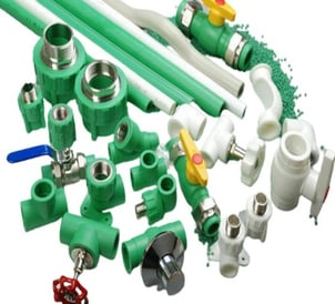 Blue And Green Highly Strong Round Ppr Pipe Line And Fittings