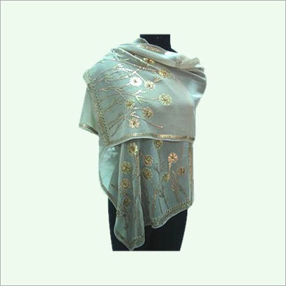 Light Weight Perfect Finish Waterproof Elegant Green Color Stoles With Embellished Floral Print