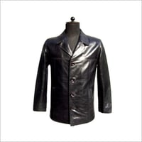 Black Leather Coat With Front Buttons